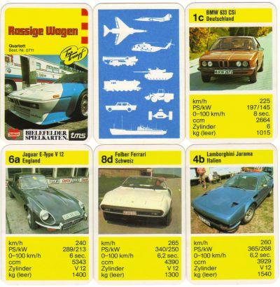 Das Rassige Wagen Autoquartett von Bielefelder Spielkarten bzw. Joker mit Top-Trumpf enthält BMW M1, Lamborghini, Jaguar und Felber Ferrari.