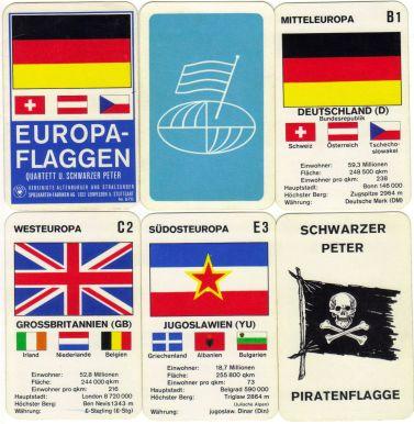 Das Europa-Flaggen-Quartett zeigt europäische Fahnen wie bei einem Autoquartett als Trumpfspiel.
