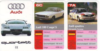 Das Audi-Autoquartett mit dem Avus quattro ist von FX Schmid München und enthält Urquattro, Walter Röhrl Rallye-Quattro, IMSA Quattro, Audi 100 Coupé, AutoUnion, DKW
