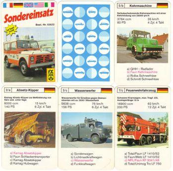 Der Fiat Campagnola auf dem Deckblatt des Spezial-Autoquartetts von FX Schmid München mit dem Titel Sondereinsatz, Nr. 53522, ist ein Feuerwehr oder Krankenwagen.
