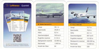 Das Lufthansa-Quartett ist Werbe-Flugzeugquartett mit Airbus A380-800, Boeing 747-400, Junkers Ju 52, Super Constellation und Douglas DC10 und hat einen QR-Code zum Download der Lufthansa Quartett-App.