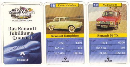 """Das Renault-Jubiläums-Quartett """"100 Renault Century"""" zum 100. Geburtstag enthält Renault Dauphine, R4, R16, Renault Alpine, Espace und viele andere französische Klassiker im Trumpfquartett."""