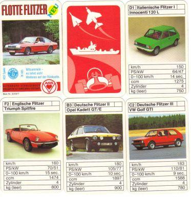 Das ASS-Autoquartett Flotte Flitzer mit dem Opel Manta B, dem Penny-Punkt und der Nr. 3289/7 ist ein Vintage quartet mit tollen Youngtimern wie Kadett GT/E, Golf GTi, undTriumph Spitfire