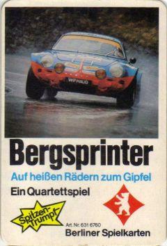 Das Berliner Spielkarten Bergsprinter-Quartett hat einen Renault Alpine auf dem Titel