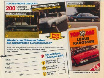 Werbung für das ASS-Autoquartett Luxuskarossen in Fix und Foxi