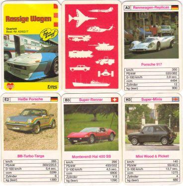 Das Rassige Wagen Autoquartett von Joker tms mit Top Trumpf und gelbem Hintergrund ist von Bielefelder Spielkarten und zeigt den BMW M1, Rennwagen Replicas, Nostalgie-Cabrios und BB-Porsche.