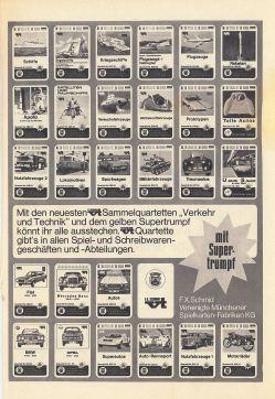 Eine Werbeanzeige in Micky Maus 1970 für die Autoquartette von FX Schmid und Piatnik mit vt-Logo