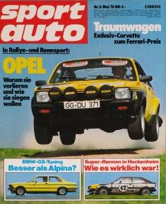 Sportauto-Zeitschrift mit dem Kadett GT/E Rallye vom Berliner Spielkarten Quartett Rallye.