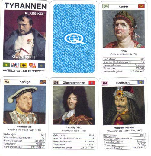 Die 4. Ausgabe des Tyrannen-Quartetts von Weltquartett mit dem Titel Klassiker enthält Autokraten der Weltgeschichte wie Napoleon, Nero, Vlad dem Pfähler und Heinrich VIII.
