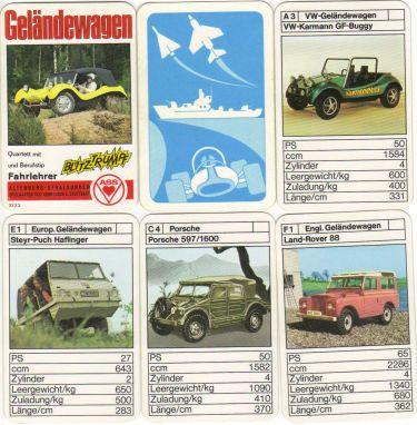 Das ASS-Quartett Geländewagen enthält Jeeps, Buggys, Range Rover, Kübelwagen, Unimog, Steyr-Puch, DKW Munga und sogar Porsche 597 mit Vierradantrieb.