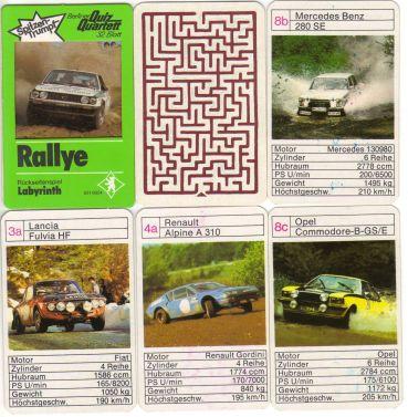 Das Quiz-Quartett Rallye von Berliner Spielkarten Nr. 6316924 hat einen grünen Quizrahmen, Spitzentrumpf und Rückseitenspiel sowie Lancia Beta HF, Renault Alpine A 310, Ford Escort RS 2000 und Opel Ascona.