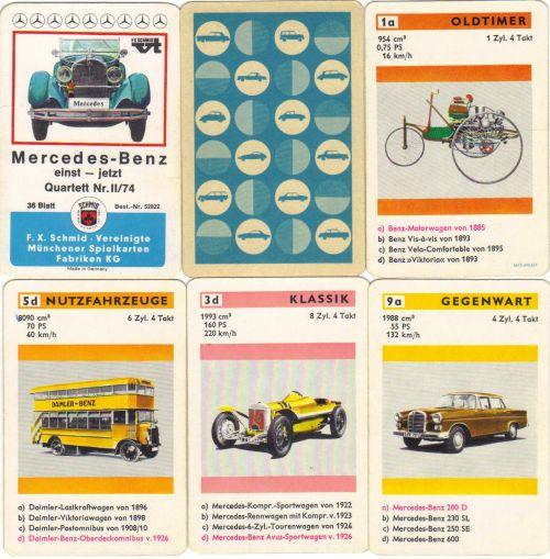 Das erste Marken-Autoquartett überhaupt ist Merdedes-Benz einst-Jetzt von FX Schmid mit der Nr. II/74 bzw. 52822, das Oldtimer wie Merdedes Heckflosse, Avus-Sportwagen und SSK enthält.