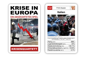 """Das Krisenquartett """"Krisen in Europa"""" präsentiert 32 Länder Europas, die von der Finanz- und Wirtschaftskrise betroffen sind."""