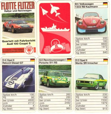Das Rallye- und Rennwagen-Quartett von ASS Nr. 3238 namens Flotte Flitzer enthält Irmscher-Opel, VW Käfer RS, Schnitzer-BMW, de-Tomaso-Pantera und den Fahrbericht.