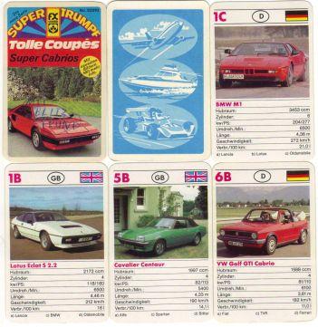 Bei diesem Autoquartett Coupes und Cabrios von FX Schmid mit Super-Trumpf Nr. 52010 ist ein Ferrari Mondial auf dem Titel.