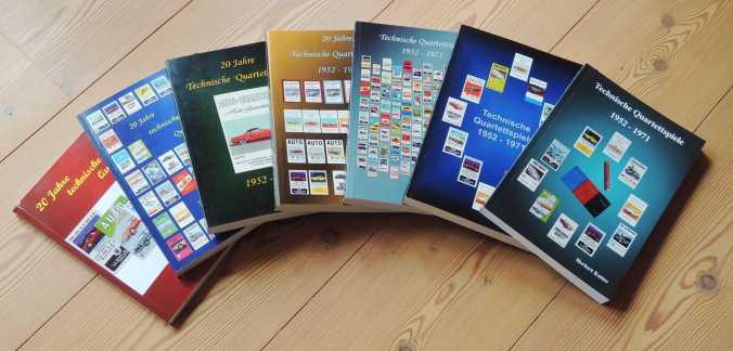Die Kataloge von herbert kutter mit dem Titel Technische Quartettspiele 1952-1971 zeigen Autoquartette, Flugzeugquartette von ASS, FX Schmid, Piatnik, Nürnberger und mehr in vielen Varianten
