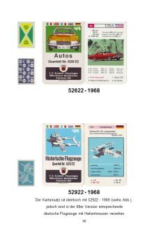 Kutter Quartettkatalog zeigt das Spiel Autos 52622 mit Werberückseite und ein Flugzeugquartett mit Druckfehler-Variante