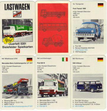 Das Lastwagen-Quartett 0201 von Bielefelder Spielkarten mit Top Trumpf enthält Ford Transit, VW Bus, Hanomag Henschel,  Opel Blitz, Büssing, Magirus Deutz und andere historische LKW.