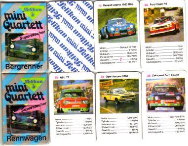 Das Mini-Quartett von Pelikan hat den Superstecher, den Quizrahmen und Bergrenner wie Porsche KSR, Zakspeed Ford Escort, Ascona 400 und Irmscher-Commodere im Autoquartett.