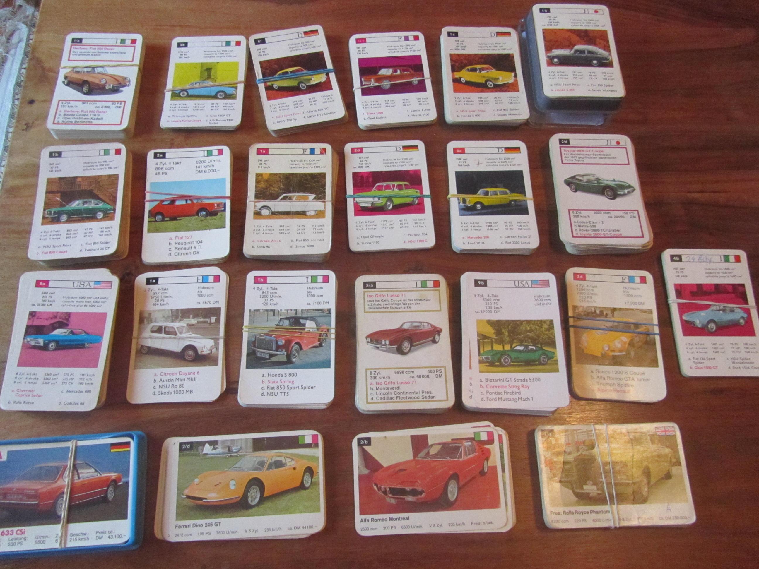 Einzelkarten der FXS Schmid Quartette Sportwagen 52522, Autos 52622 und Superautos 53222 zu verkaufen