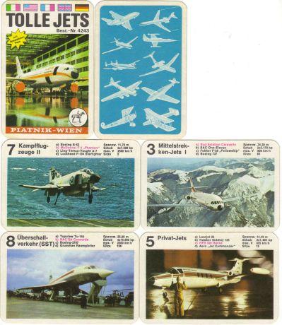 """Dieses 70er-Jahre Flugzeug-Quartett """"Tolle Jets"""" von Piatnik zeigt Verkehrsflugzeuge und Düsenjets wie Airbus A300B, Boeing, Lockheed F-104, Concorde usw."""