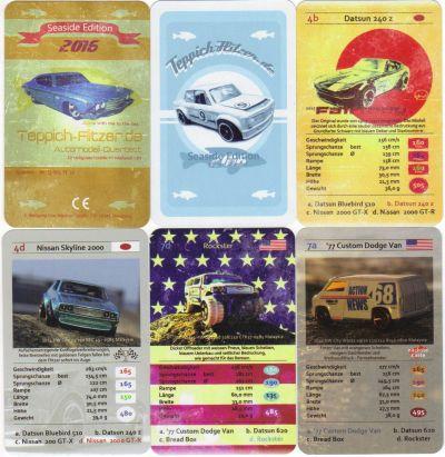 Das Modellauto-Quartett von Teppichflitzer in der Seaside-Edition enthält Hot Wheels und Matchbox Autos wie Chevy Chevelle und Datsun 240 Z.