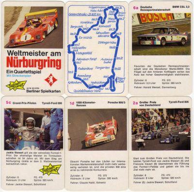 Das Quartett Weltmeister am Nürburgring von Berliner Spielkarten zeigt klassische Formel1-Rennwagen und Rennsportwagen vom großen Preis von Deutschland 1973 und 1000-km-Rennen