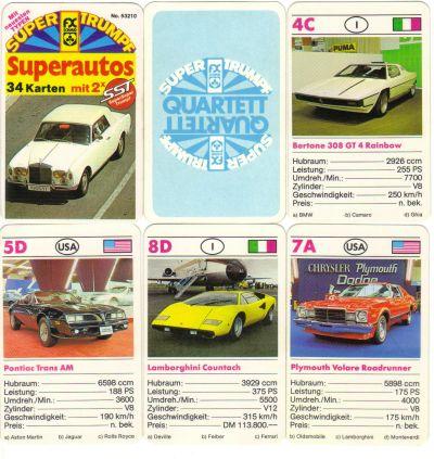 Das FX Schmid Superautos-Quartett mit SST-Karten enthält Rolls-Royce Corniche, Ferrari Bertone 308 Rainbow, Lamborghini Countach und weitere Stylingstudien vom Genfer Salon.