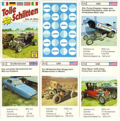 """Das Spiel """"Tolle Schlitten"""" von FX Schmid München, Nr. 58922, ist ein Autoquartett mit Hotrods, Dragstern, Funny-Cars, Dune-Buggies, Custom-Cars und anderen Umbauten mit V8-Kompressor Motor."""