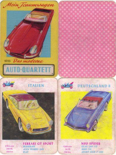 Das alte Auto-Quartett Mein Traumwagen von S&S Schwager und Steinlein hat 24 Karten und bunte Illustrationen von Jaguar E-type und NSU Spider
