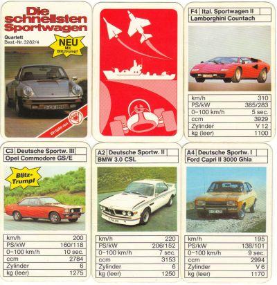 """Das ASS-Quartett """"Die schnellsten Sportwagen"""", Nr. 3282/4 ist """"Neu mit Blitztrumpf"""", hat den silbernen Porsche Turbo auf dem Titel sowie Lamborghi Countach, Opel Commodore GSE und BMW 3.0 CSL – ein schönes altes Autoquartett für Sammler"""