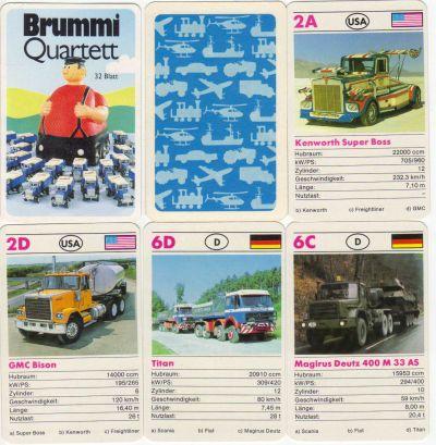 Das Brummi-Quartett mit dem dicken Brummi-Laster enthält LKW, Sattelschlepper und US-Trucks von Peterbilt, Kenworth, Faun, Magirus-Deutz, Titan und Scania und wurde von FX-Schmid oder Nürnberger NSV hergestellt.