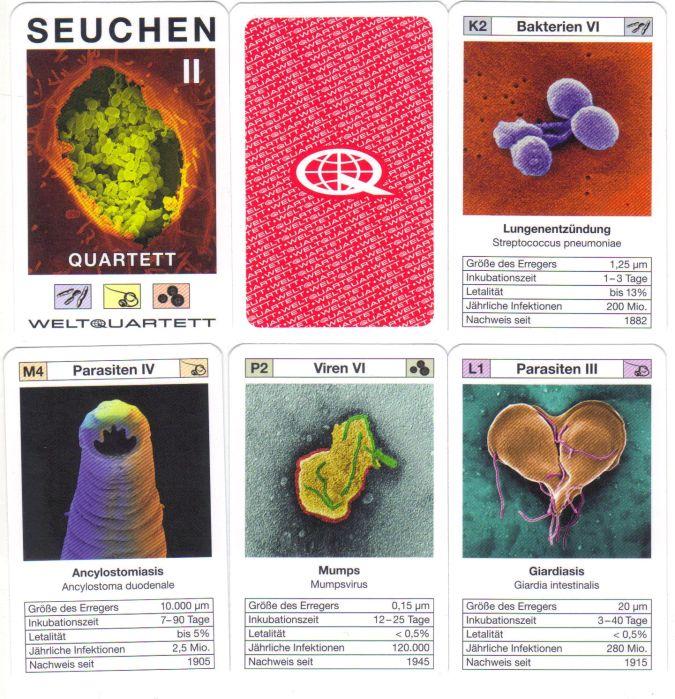 Das Quartett Seuchen II von Weltquartett bildet Bakterien, Viren und Parasiten von Epidemien und Infektionskrankheiten ab, wie etwa von Q-Fieber, Mumps, Rotavirus und Legionärskrankheit.