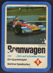 Das historische Rennwagen-Quartett von Berliner mit Deckblatt auf der Quartettbox.