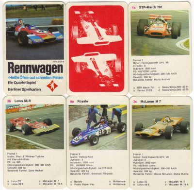 Das Rennwagen-Quartett von Berliner Spielkarten mit dem Tecno unter Nr. 502419 zeigt STP-March, Turbinen-Lotus 56, Mc-Laren M7 und einen Formel Vau mit Emerson Fittipaldi.