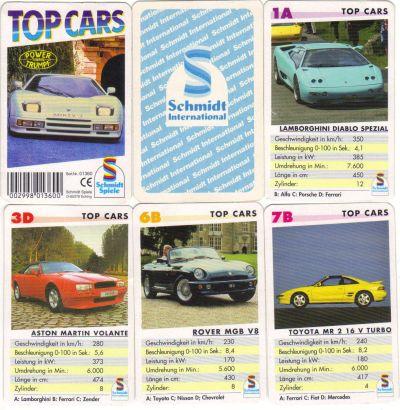 Das Autoquartett von Schmidt Spiele Eching in der Musikcassetten-Box namens Top Cars hat die Nr. 01360 und den Zender Prototyp auf dem Titel.