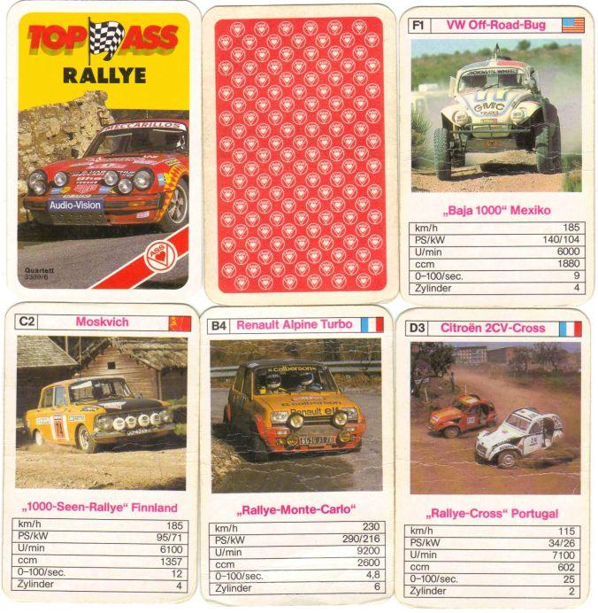 Das Top-Ass Rallye-Autoquartett enthält Porsche 911, Lancia Stratos, Renault Alpine Turbo, Baja 1000 Mexico-Käfer, sogar einen Moskvich Rallye.