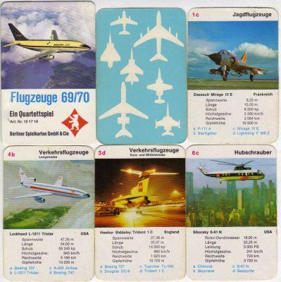 Das Berliner Spielkarten Quartett Flugzeuge 69/70 ist ein historisches Flugzeugquartett in der Hochbox mit Lockheed Tristar, Boeing 737 und 747, Starfighter, Mirage und Sikorsky Hubschrauber.