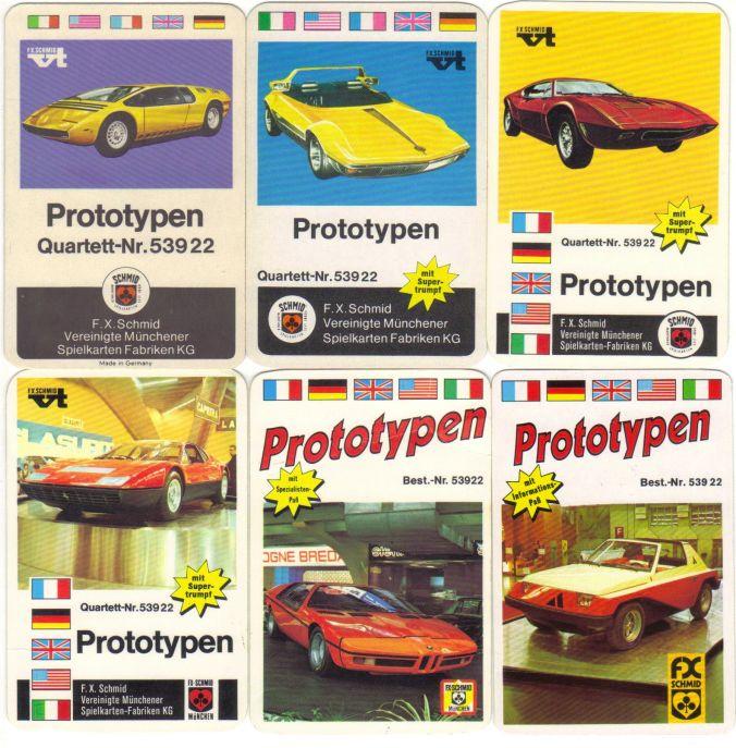 Die 6 Prototypen-Autoquartette von FX Schmid München, Nr. 53922, zeigen Stylingstudien der Autodesigner wie Pininfarina und Bertone etwa auf dem Turiner Salon oder Genfer Salon.