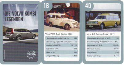 """Im Werbe-Autoquartett """"Die Volvo Kombi Legenden"""" sind etwa Volvo P1800 ES Schneewittchensarg, Volvo V70, Volvo P210 Duett, Volvo 121 Amazon, der Renn-Volvo Heico und Volvo XC70 enthalten."""
