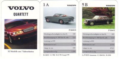 Das Volvo-Quartett zeigt 32 Modelle, etwa den Volvo 1800, P22 Amazon, PV444 Buckelvolvo, V70, P1800S, Volvo P1900 und 164.