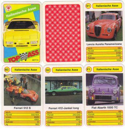 Das Autoquartett Italienische ASSe von ASS mit Nr. 3077/3 enthält Ferrari 365 GT, Ferrari 412, Lancia Aurelia, Abarth 1000 TC und den Gemballa Testarossa.