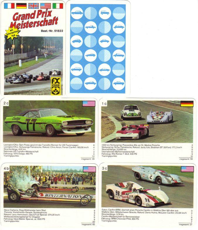 Das Renn-Autoquartett Grand Prix Meisterschaft von FX Schmid München Nr. 51822 zeigt den Grand Prix von Italien mit Ronnie Peterson und Jackie Ickx sowie CanAm, TransAm, Interserie und Dragsterrennen.