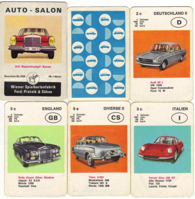 Das Piatnik Auto-Quartett nr. 293 mit dem Mercedes 280s heißt Auto-Salon und enthält Audi 80 L, Ferrari Dino 206 GT, Rolls-Royce Silver Shadow, Tatra 2-603, Trabant, Moskwitsch, Jaguar XJ6 und mehr.