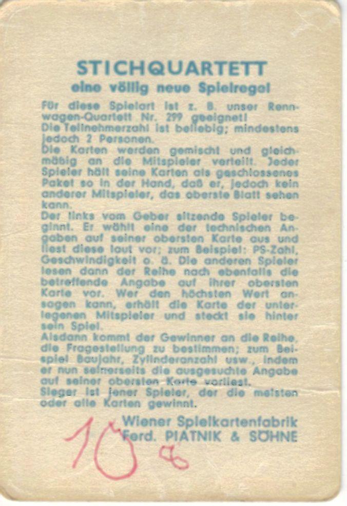 Die Rückseite des großen Deckblatts vom Piatnik Wien Autoquartett Auto-Salon 293 hat eine Regel fürs Stichquartett mit Trumpfspiel.