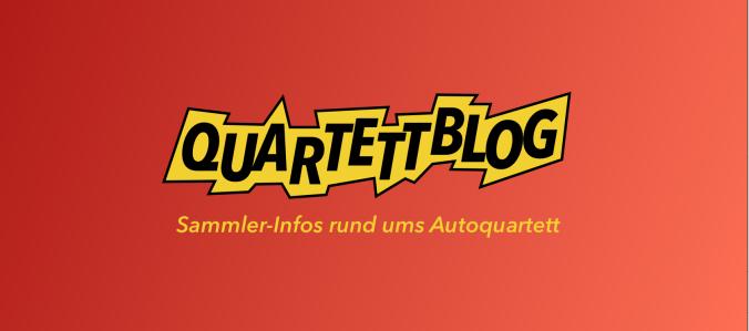 Der Header des Quartettblog zeigt den ASS-Blitztrumpf als Logo für die Webseite für Sammler-Infos rund ums Autoquartett.