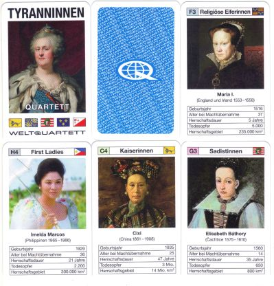 Das Tyranninnen-Quartett der Hamburger Marke Weltquartett gehört zum Tyrannenquartett und zeigt Katharina die Große, Imelda Marcos, Elena Ceausescu, Elisabeth Bathory sowie manche Zarin, Kaiserin, Pharaonin und First Lady.