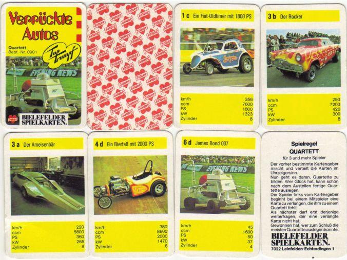 Verrückte Autos von Bielefelder Spielkarten mit Top Trumpf ist ein seltenes Mini-Autoquartett mit James Bond Moonraker-Mobil, Hot Rods, Dragster und Showcars.
