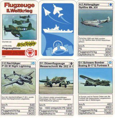 Das Militär-Quartett Flugzeuge II. Weltkrieg, Nr. 3228, mit Blitztrumpf und Berufstip enthält Vought Corsair, Messerschmitt BF 109 und Me 262, Spitfire, P38 Lightning, Junkers JU52, Gloster Meteor, Heinkel He 111, Flying Fortress und den Tausendfüßler.