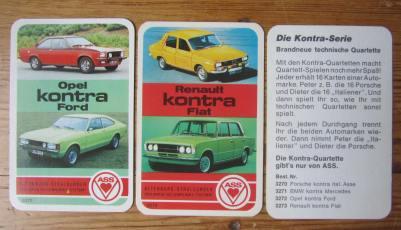 Die beiden Autoquartette der Kontra-Serie von ASS Opel kontra Ford, Nr. 3272, und Renault kontra Fiat, Nr. 3273, mit schwarzer Deckblatt-Rückseite.